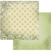 "Vintage Rose Garden Double-sided Paper 12""x12""-green Florals - Case Pack Of 5"