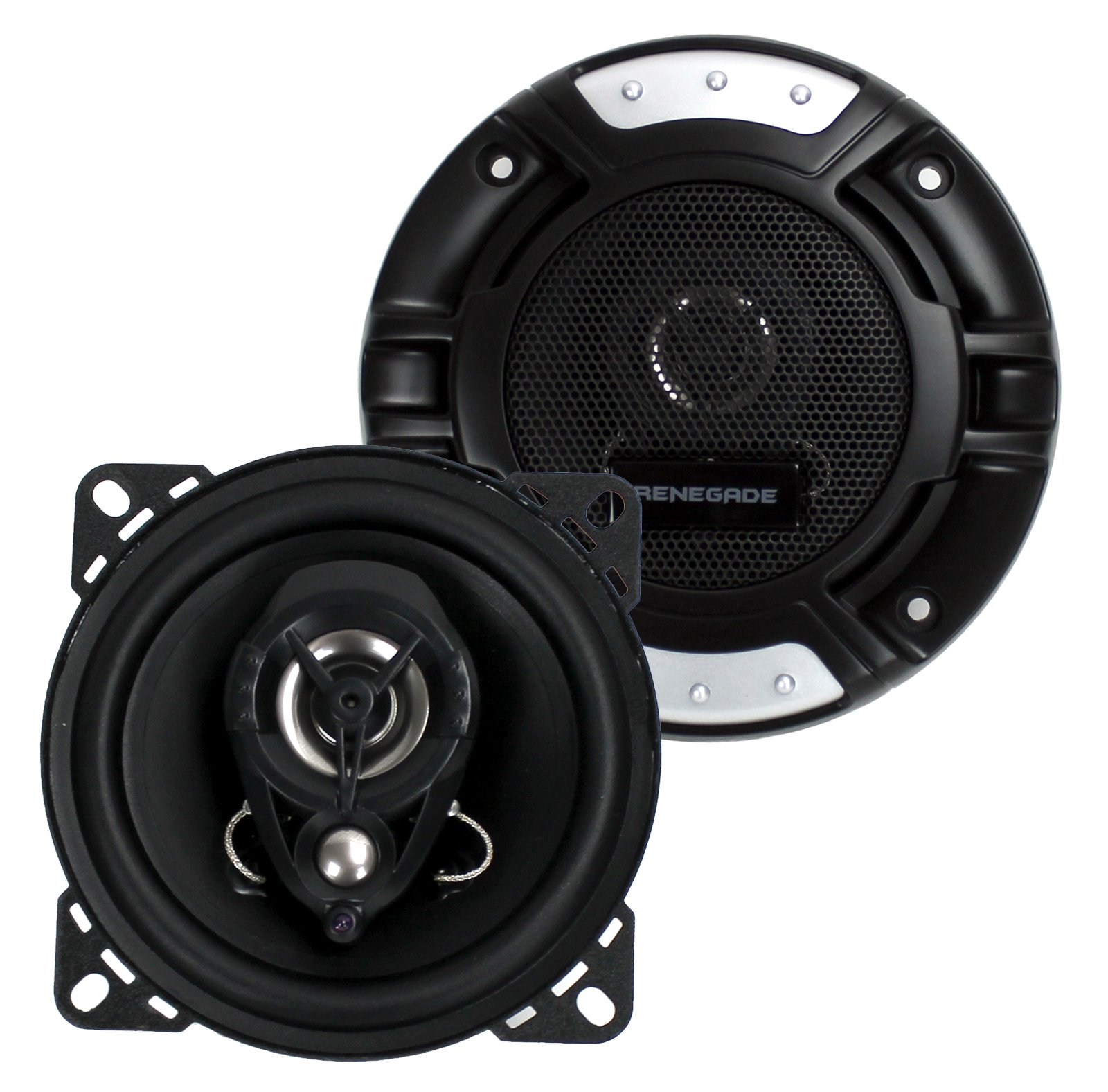 "2) New Renegade RX42 4"" 120 Watt 3-Way 4-Ohm Car Audio Coaxial Speakers Stereo"