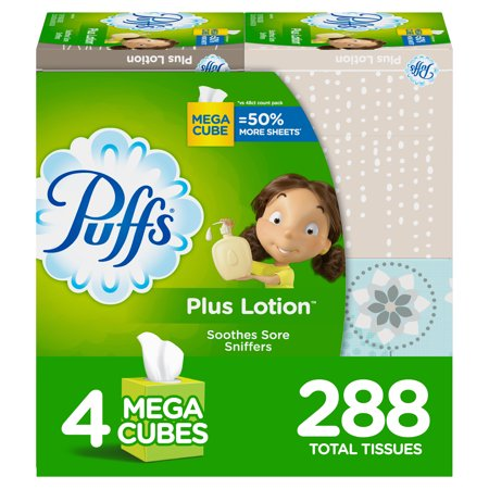 Puffs Plus Lotion Facial Tissues, 4 Mega Cubes, 288 Tissues