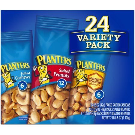 Allergic To Peanuts - Planters Nut 24 Count-Variety Pack, Salted Peanuts, Honey Roasted Peanuts & Salted Cashews Ready-to-Go Sleeves, 40.5 oz Multi-Pack Box
