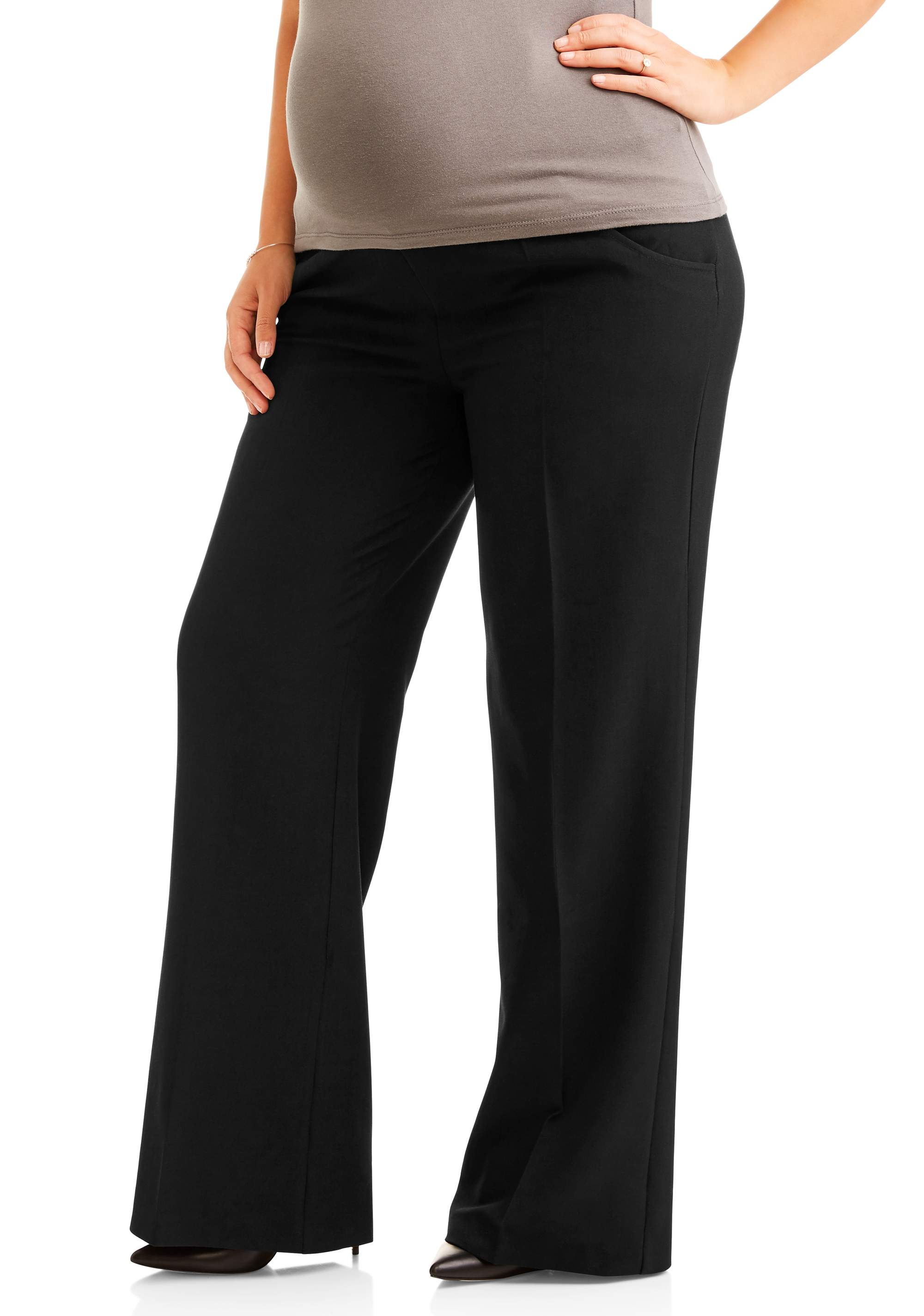 Maternity Full-Panel Wide Leg Career Pants -- Available in Plus Sizes by IE Industries Fashions