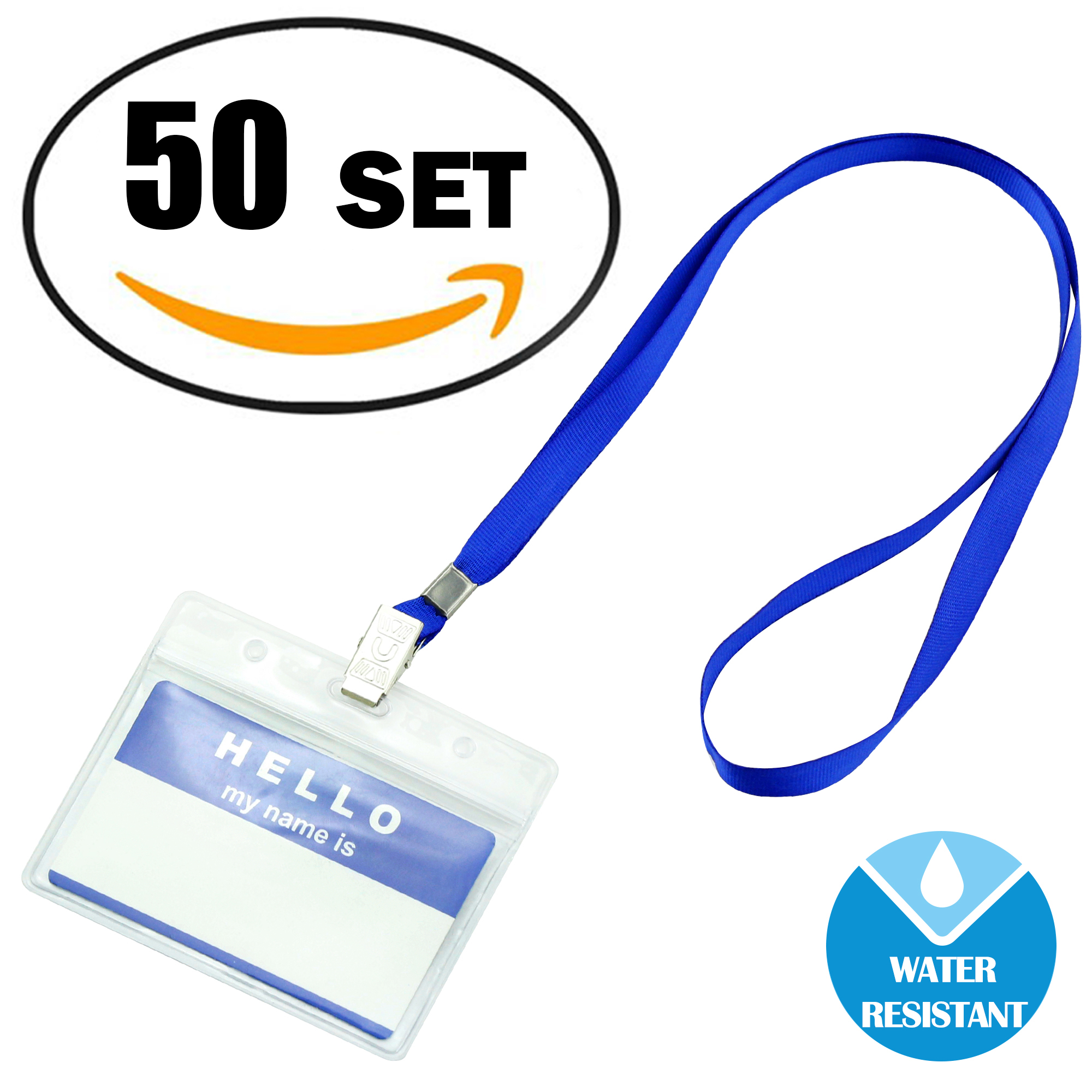Gimars Waterproof Clear Nametags ID Name Badge Holder with Lanyards,3.5 * 2.2 inches,50 Pack