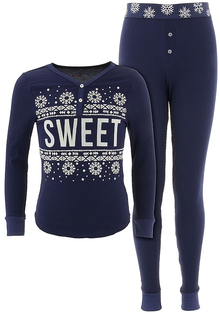 Delia*s Girls Sweet Navy Thermal Pajamas