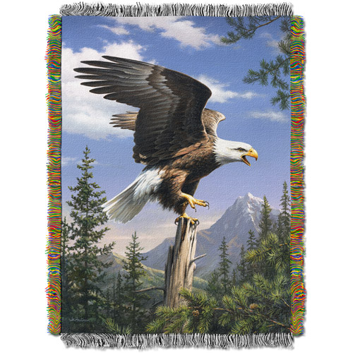 """The Northwest Company Hautman Brothers Eagle Perch Tapestry 48"""" x 60"""" Throw"""