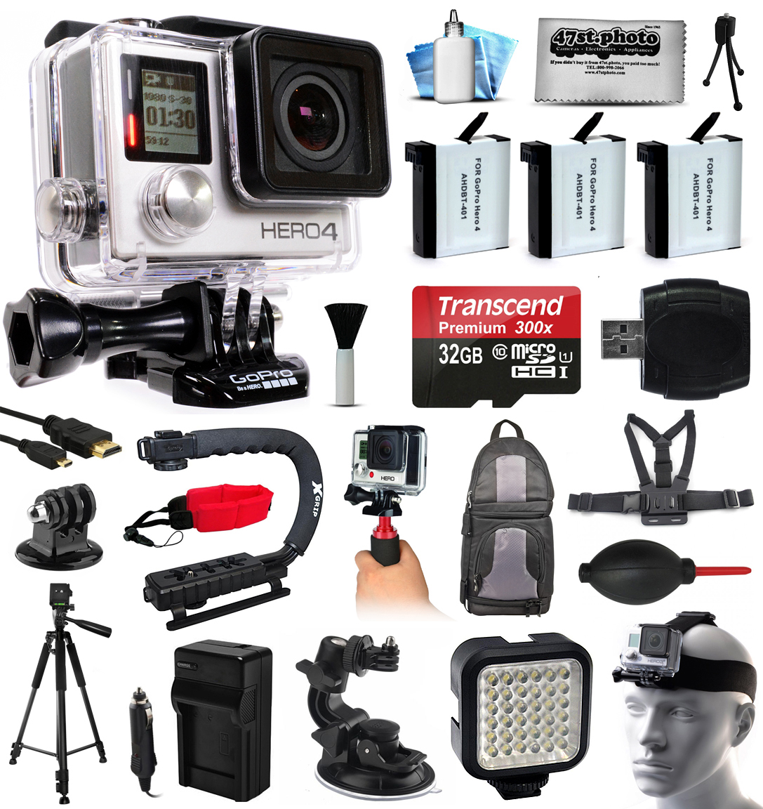 GoPro HERO4 Hero 4 Black Edition 4K Action Camera Camcorder with 32GB MicroSD, 3x Battery, Charger, Backpack, Chest Harness, Handle, Tripod, Car Mount, LED Light, Helmet Strap, Cleaning Kit(CHDHX-401)