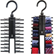 2pcs Tie Rack Holder, Tie&Belt Rack, Necktie Accessories Organizer, 20 Non-Slip Hanger Hooks Each – Rotates 360 Degrees – Storage Solution for Neckties and Belts