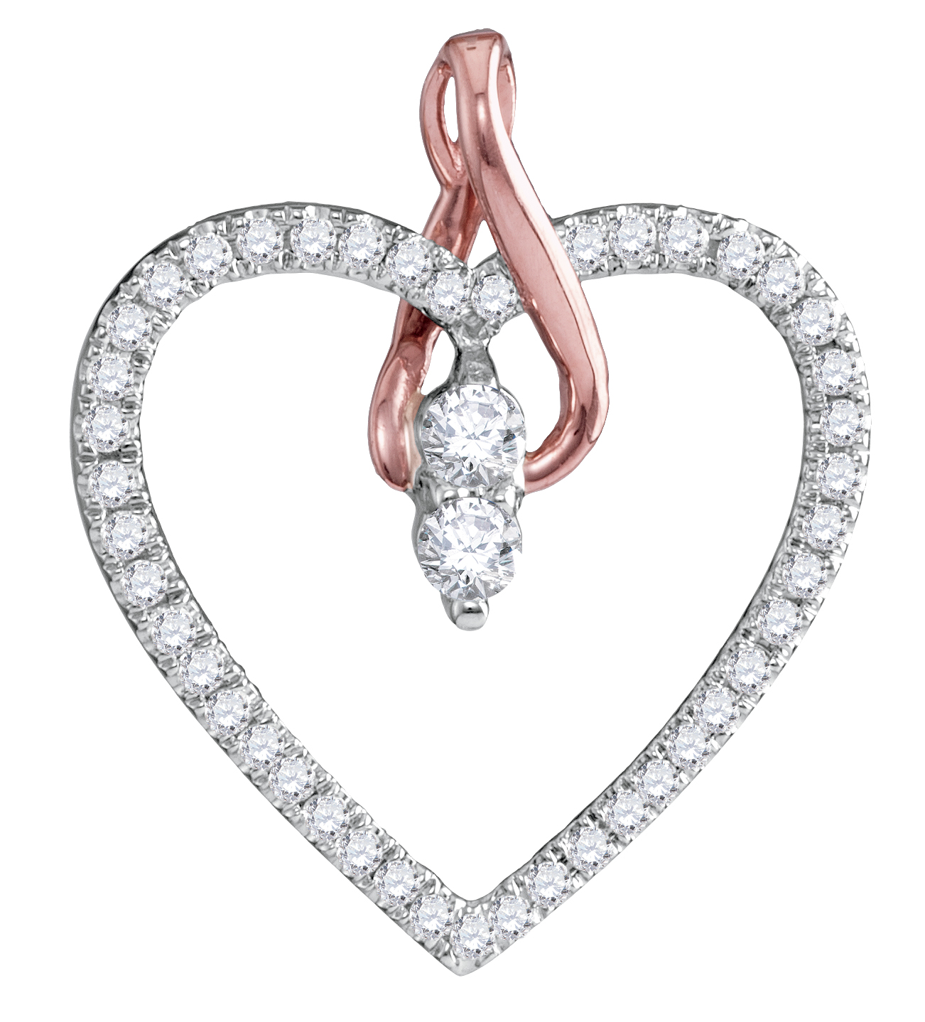 14kt White Gold Womens Round Diamond 2-stone Heart Pendant 1/4 Cttw = .26 Cttw (I2 Clarity, round cut)