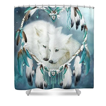 Ganma Heart Of Wolf Aqua Shower Curtain Polyester Fabric Bathroom Shower Curtain 60x72 inches