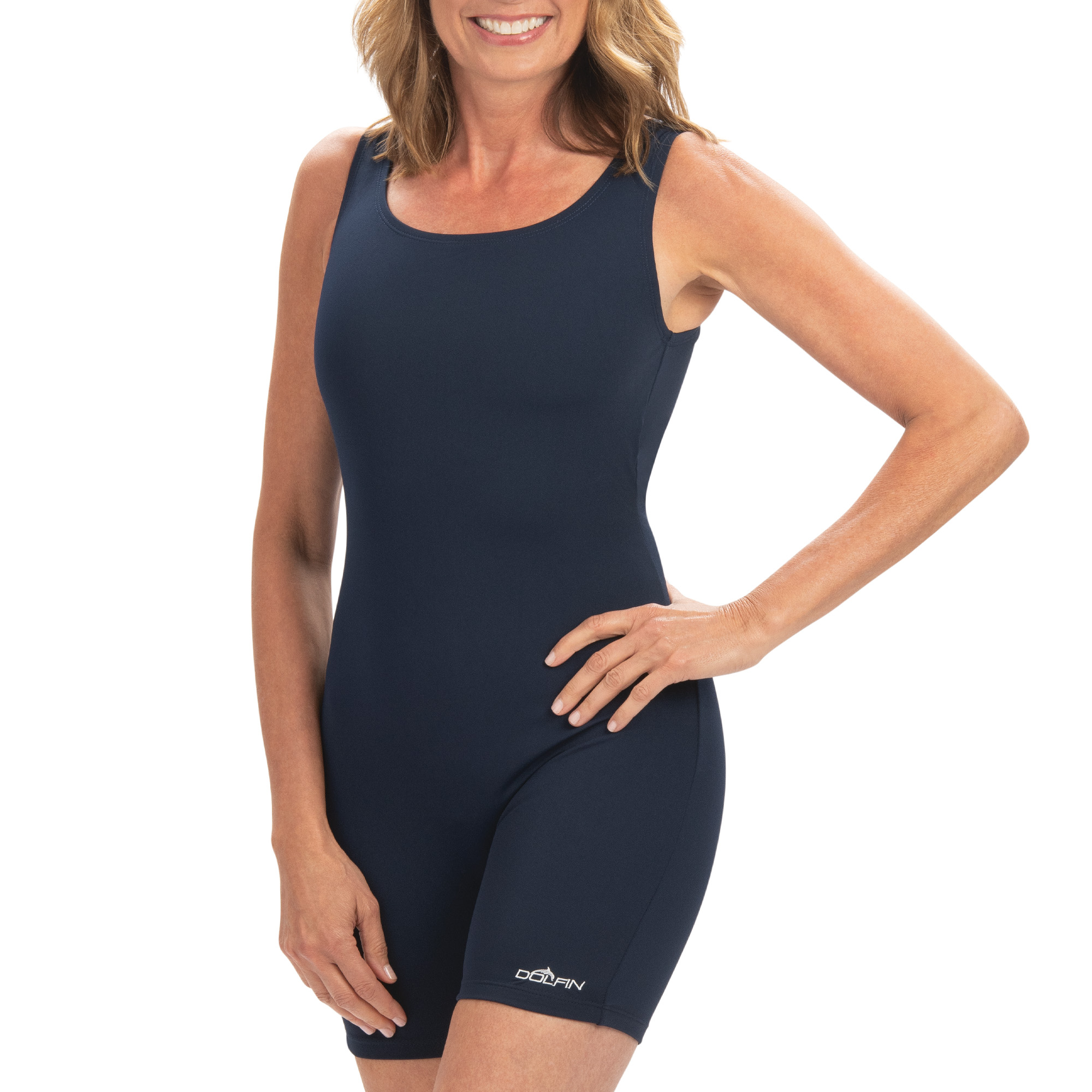 Aquashape Solid Aquatard Swimsuit in Navy