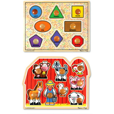 Melissa & Doug Jumbo Knob Wooden Puzzles, Shapes and Farm Animals