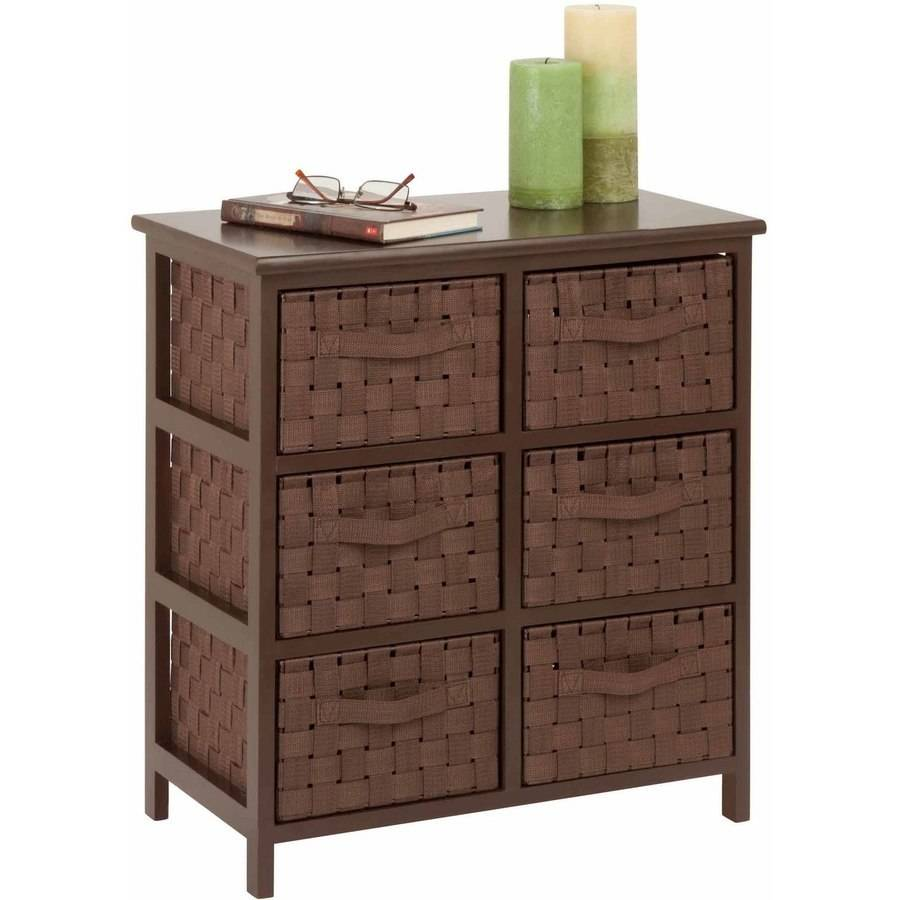 Honey Can Do Double Woven Strap Six Drawer Chest with Handles