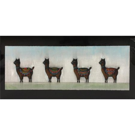 Benzara BM187405 Rectangular Canvas Oil Painting with Standing Alpaca Design, Multi Color - 28 x 55 x 2 in. (Rectangular Painting)