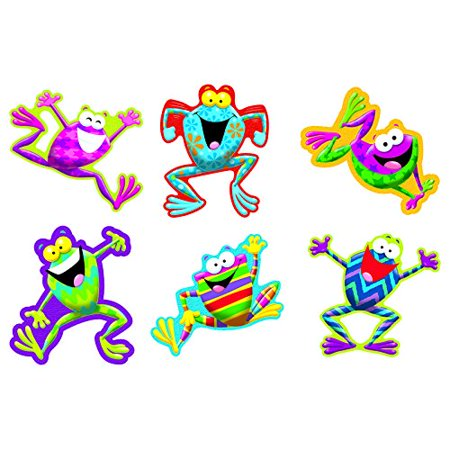 Frog-tastic Classic Accents Variety Pack T10969, Contains 36 precut shapes - 6 of each frog design pictured and Made in the USA! By Trend Enterprises (Shape Of Usa)