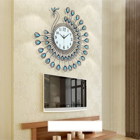 Luxury 3D Crystal Diamond Peacock Decorative Wall Clock Modern Design Quartz Wall Watch Metal Art Clock Wall Decor Gift