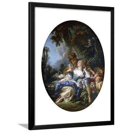 A Shepherd and a Shepherdess in Dalliance in a Wooded Landscape, 1761 Framed Print Wall Art By Francois Boucher