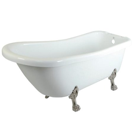 67 x 7 in. Aqua Eden Serenity Acrylic Slipper Clawfoot Tub with Faucet Drillings, Satin Nickel Feet