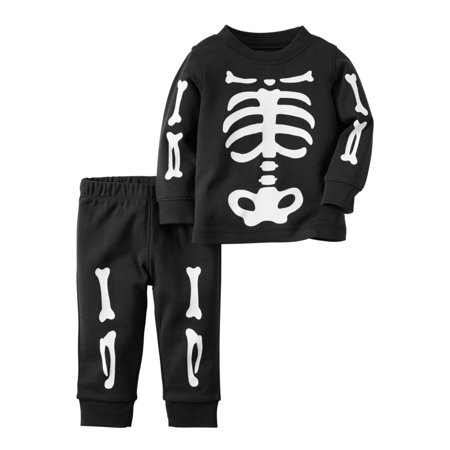 5929e26f9 Carters - Carters Infant Boys 2-Piece Halloween Skeleton Long Sleeve Shirt  & Pants Set - Walmart.com