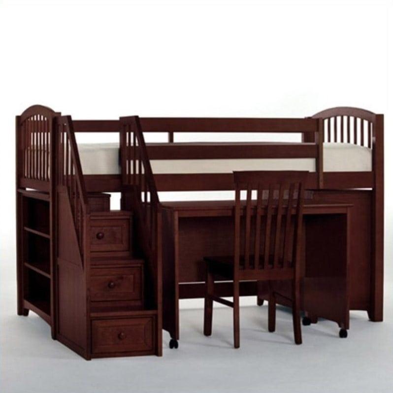 NE Kids School House Junior Loft Bed with Stairs in Cherry