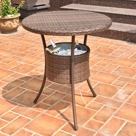 Costway 32'' Cooler Table Outdoor Patio Rattan Ice Cool Bar Party Deck Pool Bucket ()