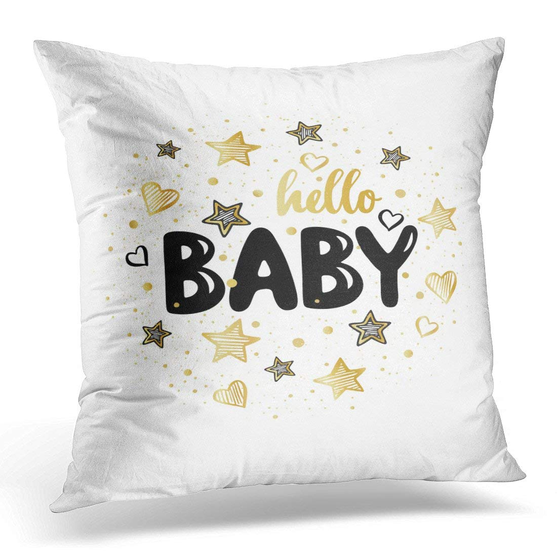 ARHOME Blue Shower Kids in Circle with Black and Gold Stars with Cute Pattern with Lettering Hello Baby Abstract Throw Pillow Case Pillow Cover Sofa Home Decor 16x16 Inches