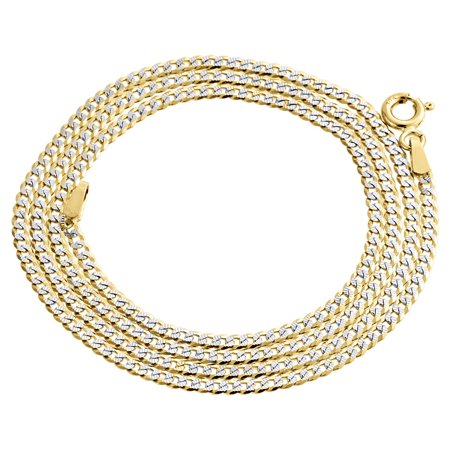 Real 10K Yellow Gold Solid Diamond Cut Cuban Link Chain 2mm Necklace 16 Inch