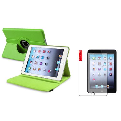 iPad Mini 3/2/1 Case, by Insten Green Leather Case+2x Anti-Glare Protector For iPad Mini 2 3 (Supports Auto Sleep/Wake)