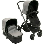 Babyroues Letour Lux Stroller with Basinet Black Frame, Silver Leatherette Canopy and Footcover
