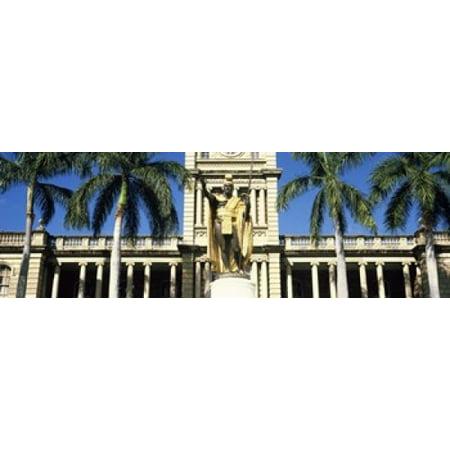 Statue of King Kamehameha in front of a government building Aliiolani Hale Honolulu Oahu Honolulu County Hawaii USA Poster Print