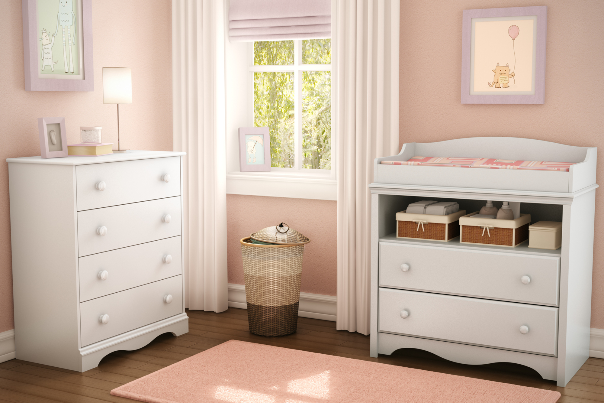 Wonderful South Shore Angel Changing Table And 4 Drawer Chest Set, White Image 2 Of