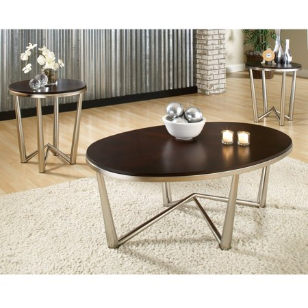 Steve Silver Cosmo Oval Cherry Wood Piece Coffee Table Set - 3 piece oval coffee table set