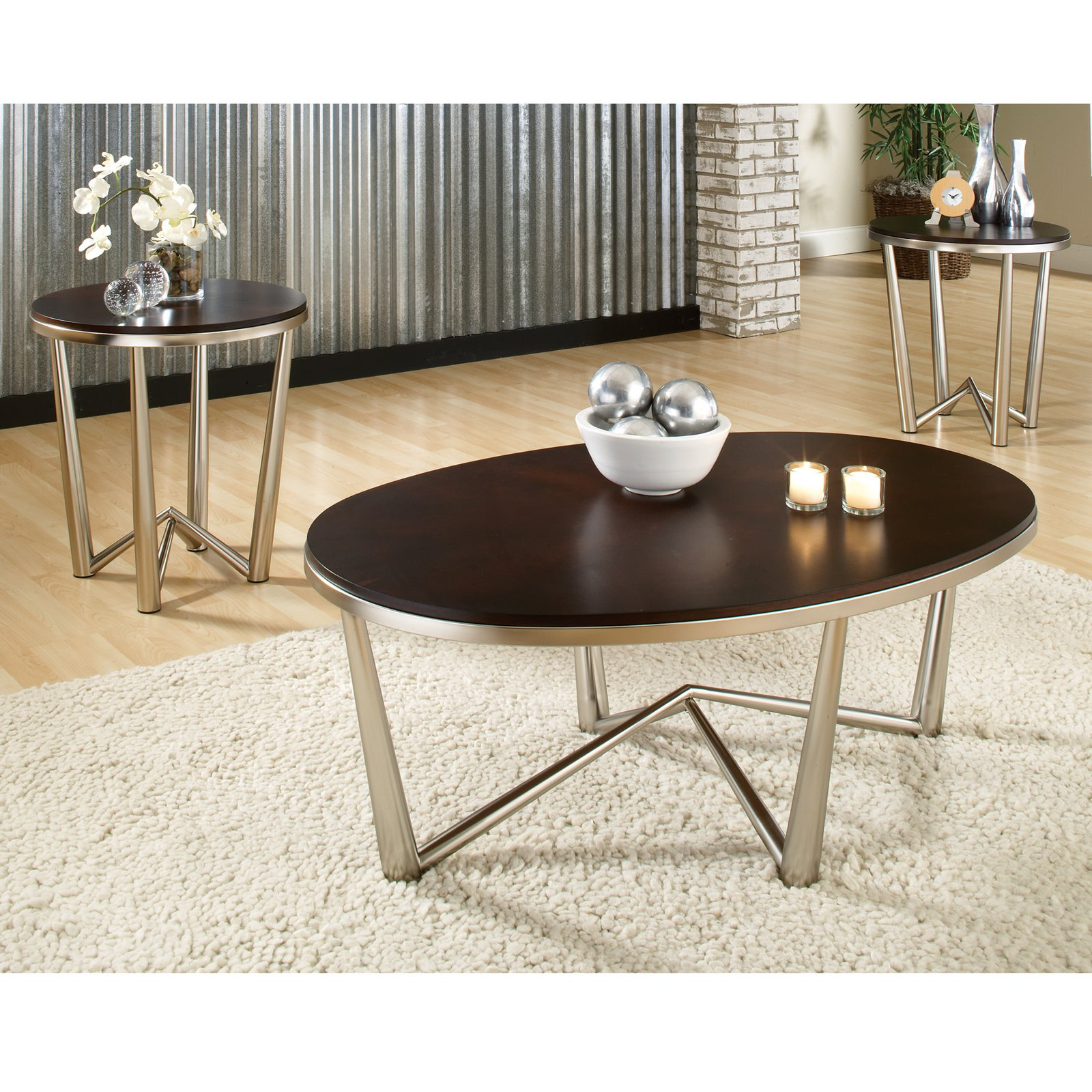 Steve Silver Cosmo Oval Cherry Wood 3 Piece Coffee Table Set
