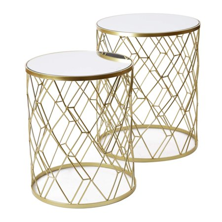 Adeco FT0269 Decorative Nesting Round Side Accent Plant Stand Chair for Bedroom, Living Room and Patio, Set of 2 End Tables Golden,White Glass