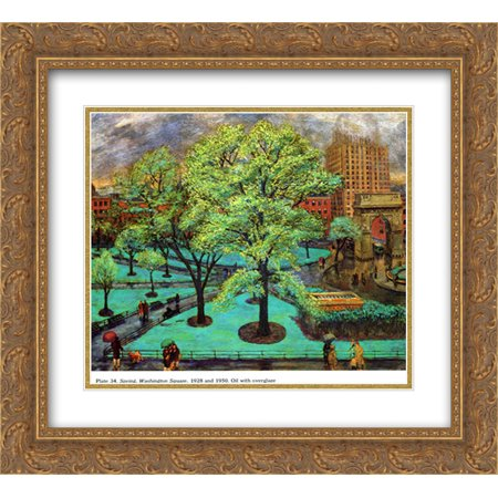 John French Sloan 2X Matted 22X20 Gold Ornate Framed Art Print Spring  Washington Square