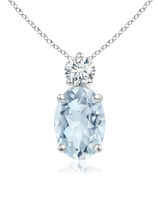 March Birthstone Pendant Necklaces Prong-Set Oval Aquamarine Solitaire Pendant with Diamond in 950 Platinum (7x5mm... by Angara.com