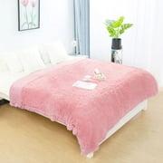"Piccocasa Fluffy Cozy Faux Fur, 1 Piece Queen (78"" x 90"") Blanket, Pink"