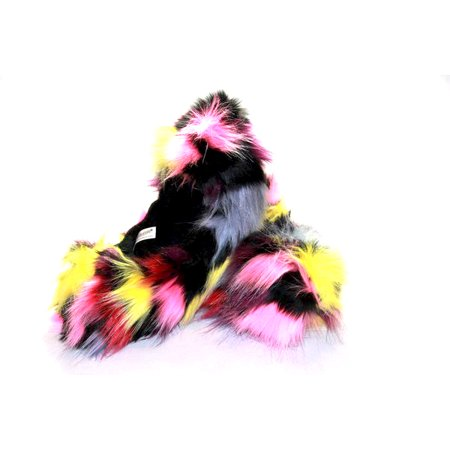 Figure Skating Fuzzy Soakers - CF03 - Multi-Color Patch Crazy Fur
