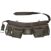 11 Pocket Oil Tanned Leather Contractors Tool Bag Belt and Tool Apron by Born Tough