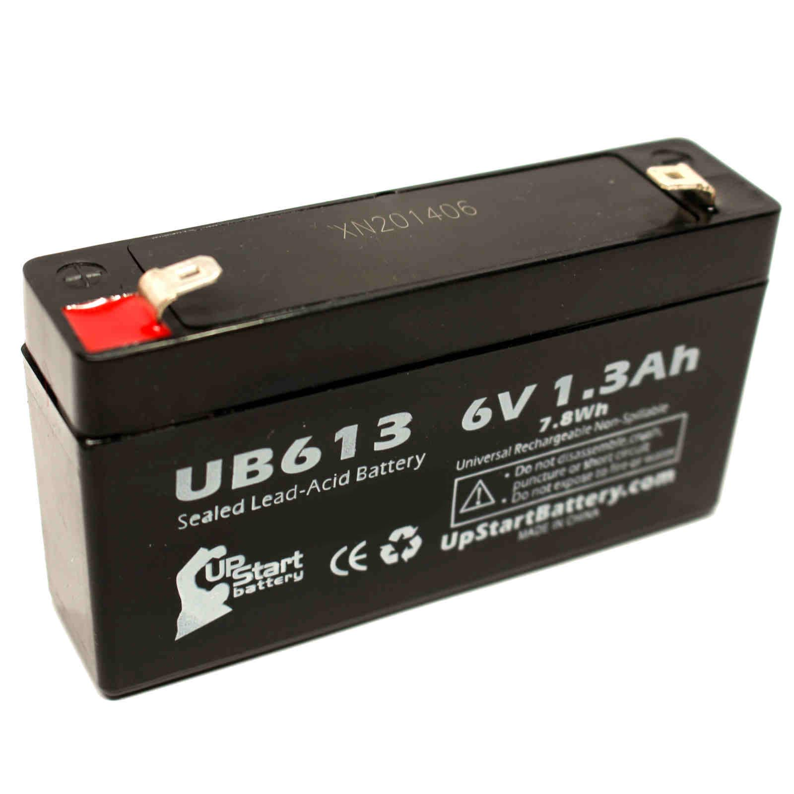 ACME MEDICAL 2500 SCALE OPTION Battery Replacement - UB613 Universal Sealed Lead Acid Battery (6V, 1.3Ah, 1300mAh, F1 Terminal, AGM, SLA) - Includes TWO F1 to F2 Terminal Adapters - image 4 de 4