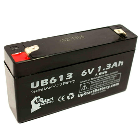 UNIVERSAL BATTERY UB613 Battery Replacement - UB613 Universal Sealed Lead Acid Battery (6V, 1.3Ah, 1300mAh, F1 Terminal, AGM, SLA) - Includes TWO F1 to F2 Terminal Adapters - image 4 of 4