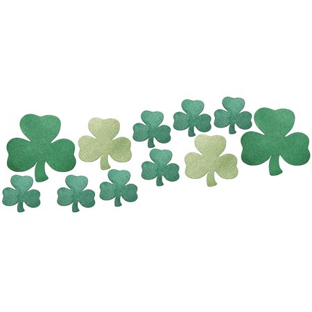 Glitter Shamrocks (12 Piece Decorative Die Cut Glitter Shamrock Assortment, Green, 12 die cut glittery green shamrocks in assorted sizes By Creative)