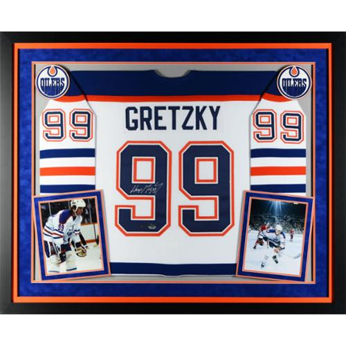 Wayne Gretzky Edmonton Oilers Deluxe Framed Autographed White CCM Jersey - Upper Deck Certified