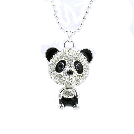 Panda Bear Crystal Necklace Black Silver Trim Pendant Tarnish Resistant (Silver Prada)