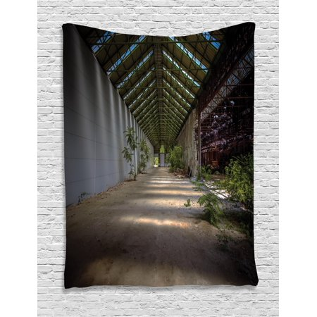 Rustic Home Decor Tapestry  Industrial Interior With Light Structure Angle And Plants Metal Urban  Wall Hanging For Bedroom Living Room Dorm Decor  40W X 60L Inches  Grey Green  By Ambesonne