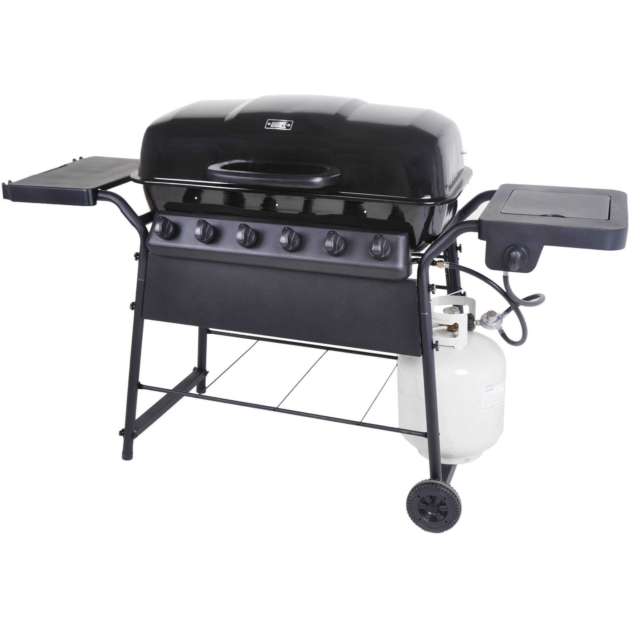 6 burner gas grill w side burner 58 000 btu patio for Gasgrill fur outdoor kuche