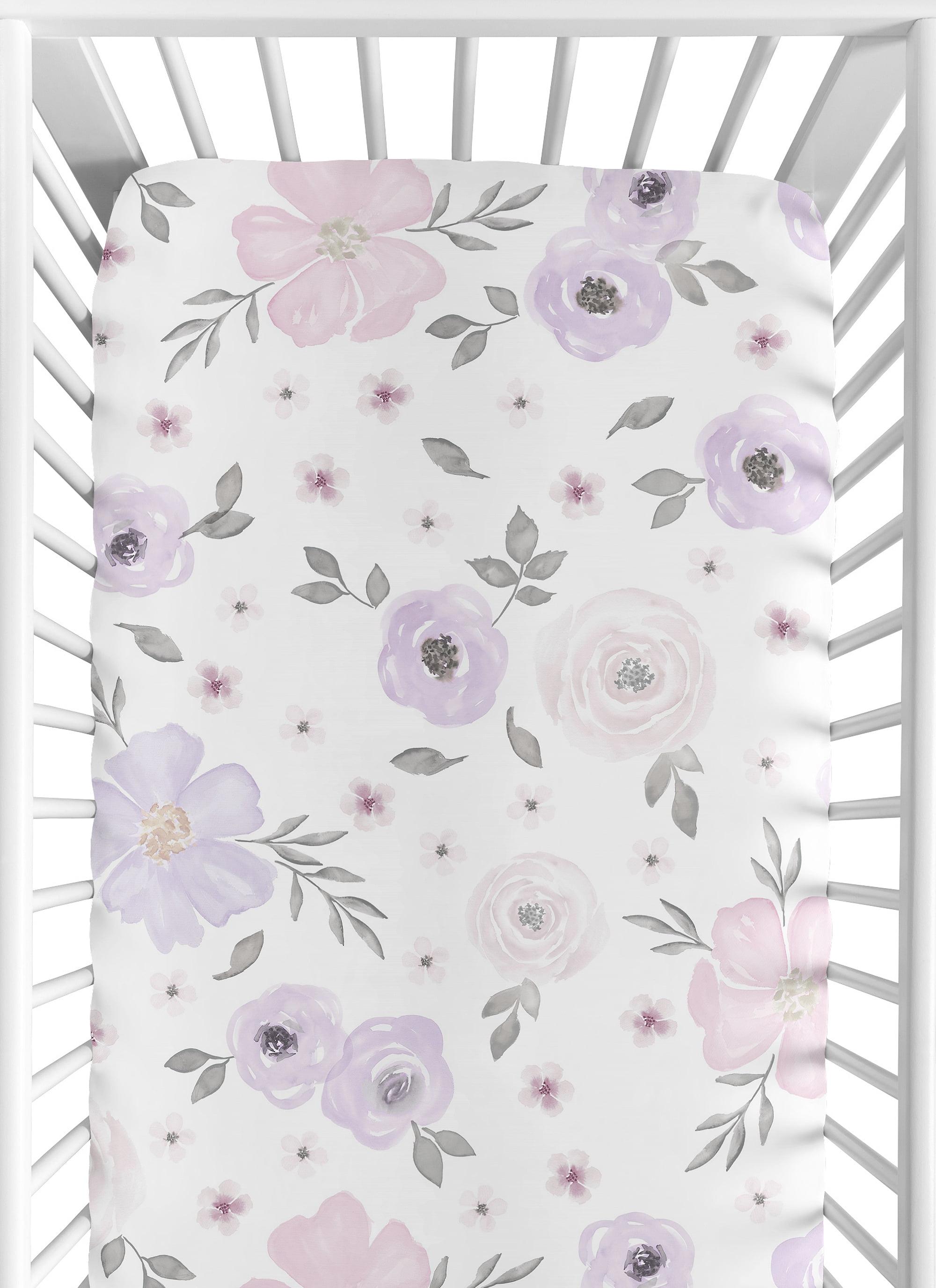 Baby Bedding Girl Crib Sheets Grey and White Crib Sheet Grey Floral Crib Sheet Floral Crib Sheet Cotton Crib Sheet Girl Nursery