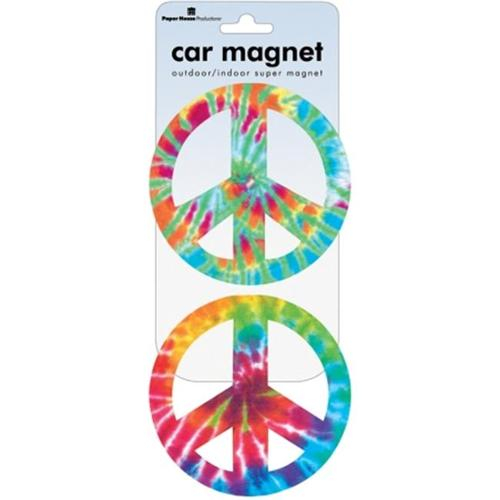Paper House 490787 Car Magnet-Peace Signs - Tie Dye