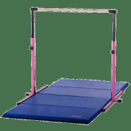 Pink Adjustable Horizontal Bar And Blue Folding Gymnastics Tumble Mat