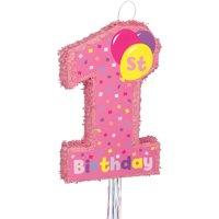 Girl 1st Birthday Pinata, Pull String