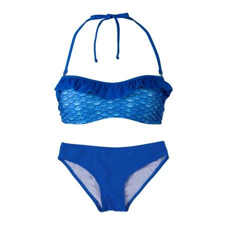 Womens Bandeau Bikini Set Matches Mermaid Tails (Adult Mermaid Swimsuit)