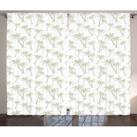 House Decor Curtains 2 Panels Set, Tropical Coconut Palm Trees Pattern Print Exotic Hawaiian Wild Lands Holiday Theme Image, Living Room Bedroom Accessories, By Ambesonne - Hawaiian Themed Bedrooms